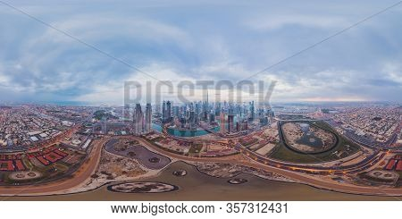 360 Panorama By 180 Degrees Angle Seamless Panorama Of Aerial View Of Dubai Downtown Skyline And Hig