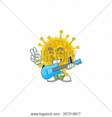 Supper Talented Coronavirus Pandemic Cartoon Design With A Guitar