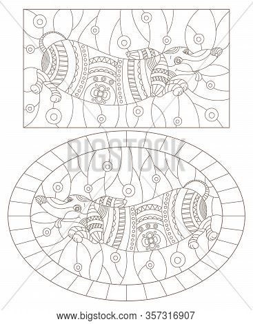 Set Of Contour Illustrations Of Stained Glass Windows With Abstract Dachshund Dogs, Dark Outlines On
