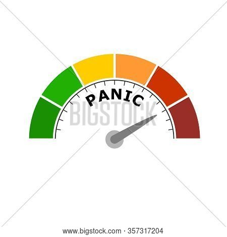 Panic Level Conceptual Meter Indicating Maximum.color Scale With Arrow From Green To Red. Sign Tacho