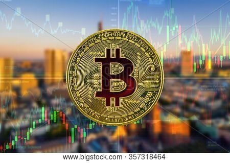 Bitcoin And Cryptocurrency Investing Concept. Bitcoin On The Background Of Skyscrapers