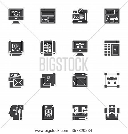 Graphic Design Vector Icons Set, Modern Solid Symbol Collection, Filled Style Pictogram Pack. Signs