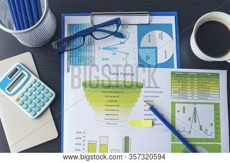 Excel Graph With Spreadsheet Document Showing Information Financial Startup Concept. Financial Plann