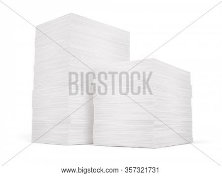 Stack of papers isolated on white background - 3d rendering