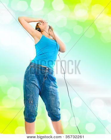 beautiful sexual woman in headphones