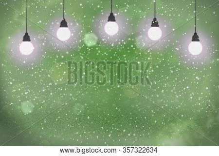 Nice Sparkling Abstract Background Light Bulbs With Sparks Fly Defocused Bokeh - Festal Mockup Textu