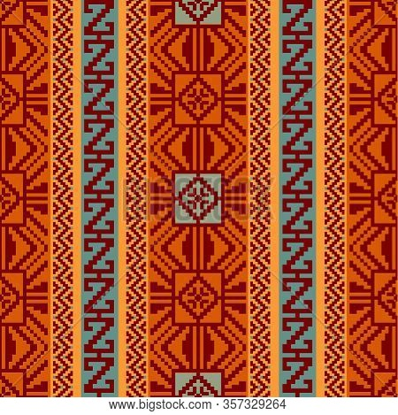 Abstract Geometric Striped Pattern In Ethnic Style