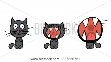 Vector Set Of Three Cats In Different Stages Of Yawning. Time To Relax