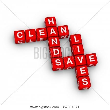 Clean hands save lives 3D crossword puzzle on white background