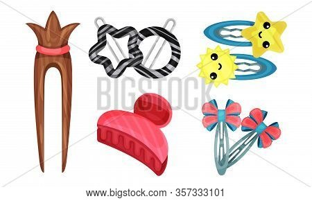 Hair Clips And Clasps Isolated On White Background Vector Set