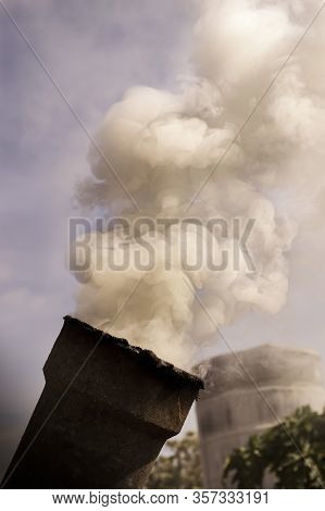 Smoke From Pipe Of Incinerator For Making Charcoal