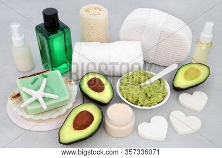 Beauty treatment for skincare with avocado &  face mask paste, moisturiser, lotion & oil with cleansing products. Health care anti ageing concept.