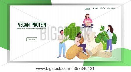 People Holding Herbs Vegetables Plant Based Tofu Milk Organic Dairy Free Natural Raw Food Healthy Nu