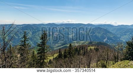 View From Klak Hill In Velka Fatra Mountains In Slovakia During Nice Springtime Day