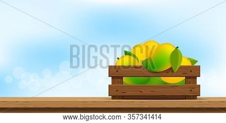 Mango In Wood Crate, Wood Crate Of Ripe Mango On Wooden Table, Copy Space For Advertisement Sale Slo