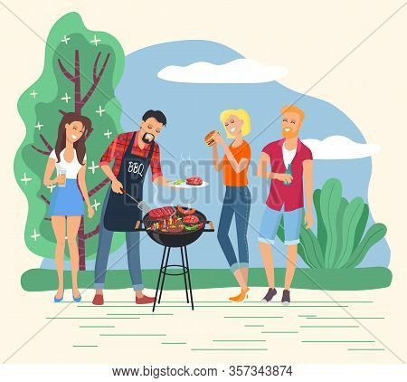 People Grilling Meet And Steaks Outdoors. Man Cooking Burgers For Friends. Character On Weekend In P