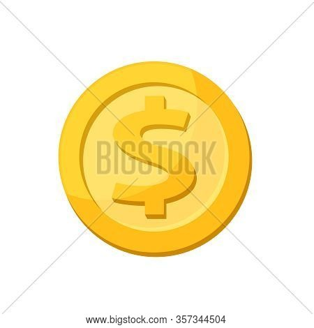 Golden Medal Dollar Coin Isolated On White Background, Dollar Coin Gold Icon, Medal Dollar Gold Sign