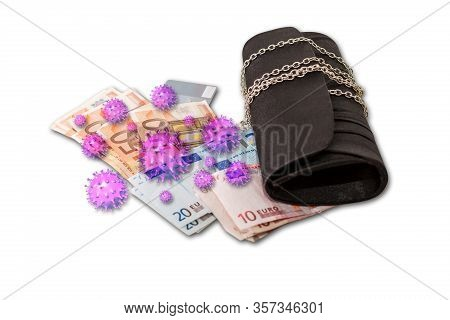 Contaminated Infected Cash Money And Wallet Isolated On White Background. Covid-19 Or Coronavirus An