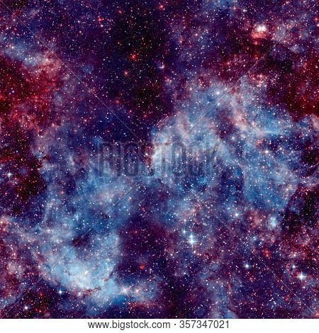 Galaxy Fabric Seamless Pattern. Blue Abstract Background. Design For Wrapping Paper, Yoga Mat Or Gal