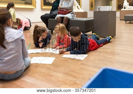 Angers, France - June 21 2019: Children Visit The Museum Of Fine Arts. Kids Plays Inside Museum, Gam