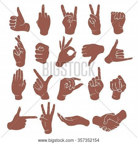 Hand Gestures, Finger Marks, Sign Language Icon Set, Stencil, Logo, Silhouette. Monochrome Drawing O