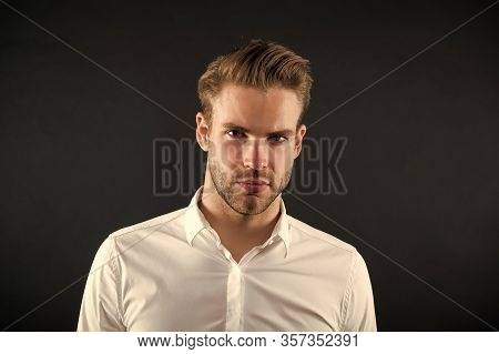 Hair Style That Suits His Face. Handsome Man With Blond Hair. Young Guy With Stylish Beard And Musta