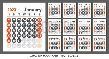 2023 Calendar. New Year Planner Design. English Calender. Red Color Vector Template. Week Starts On