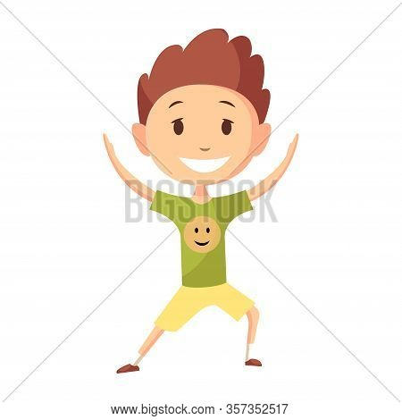 Fitness Sport. Boy Posing And Making Gymnastic Exercises. Funny Cartoon Colorful Character. Cute Gym