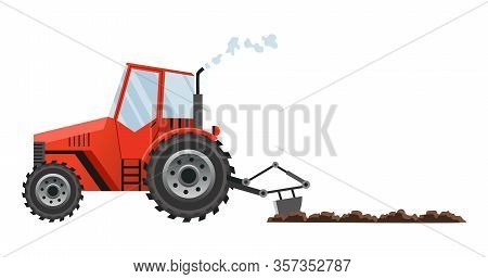 Red Farm Tractor Cultivates The Land. Heavy Agricultural Machinery For Field Work Transport For Farm