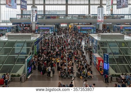 Chengdu, China - Aug 30, 2019: Passengers In Chengdu East Railway Station In China. It Is A Major Ra