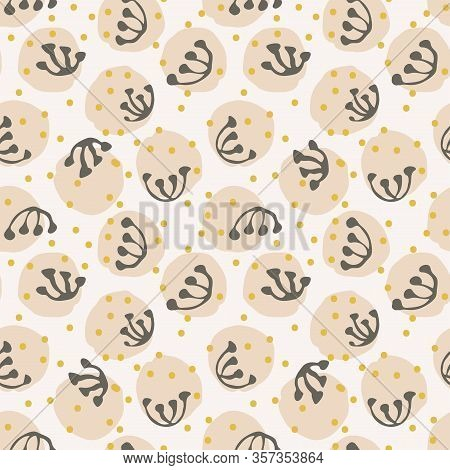 Abstract Round Floral Seamless Vector Pattern. Minimal Pink Floral In Round Shape With Black Inky St