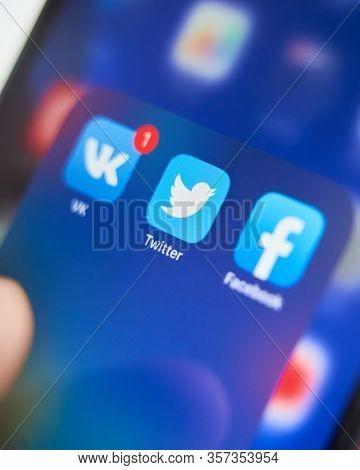 Bishkek, Kyrgyzstan - July 6 2019: Twitter Application Icon On Apple Iphone X Smartphone Screen Clos