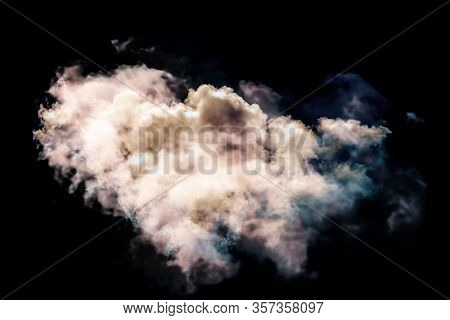 Single White Sunset Cloud Isolated On Black Background. Template For Adding Sky To Your Photos - Jus
