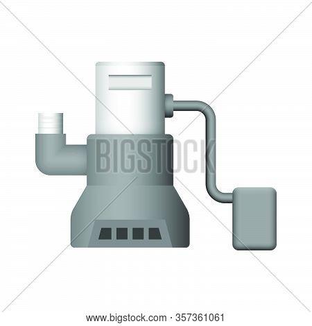 Submerged Water Pump Icon Design On White.