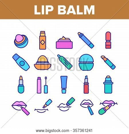 Lip Balm Cosmetic Collection Icons Set Vector. Lip Balm Package And Containers, Tube And Lipstick Fa
