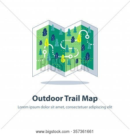 Folded Hiking Map, Forest Trail, Running Or Cycling Path, Orienteering Game, Landscape With Hills An