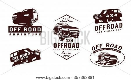 Extreme Competition Emblem Set. Offroad Expedition. Off-roading Suv Adventure And Car Event Design E