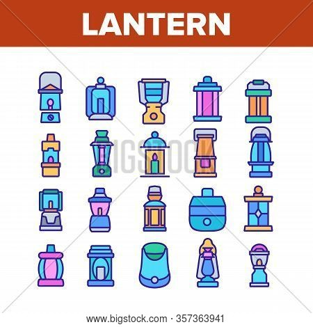 Lantern Equipment Collection Icons Set Vector. Vintage And Ancient Lantern, Kerosene Lamp And With C