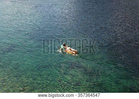 Bohinj, Slovenia - August, 03: Girl On Paddle Board In The Bohinj Lake On August 03, 2019