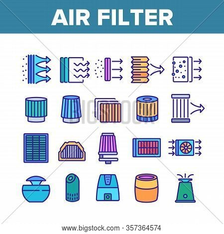 Air Filter And Airflow Collection Icons Set Vector. Car And Conditioner Air Filter Equipment, Domest