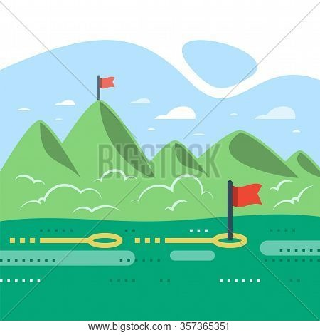 Long Term Motivation, Straight Way To Success, Green Mountain Range With Flags, Reach Distant Future