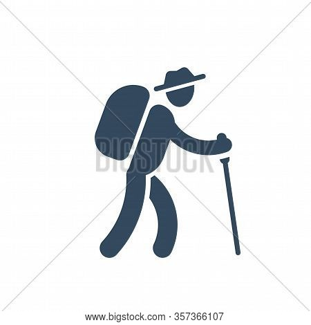 Person With Backpack And Stick Walking, Outdoor Hiking Activity Icon, Simple Silhouette, Vector Illu