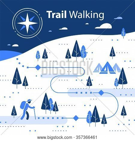 Winter Hiking Map, Snow Forest Trail, Running Or Cycling Path, Orienteering Game, White Landscape Wi