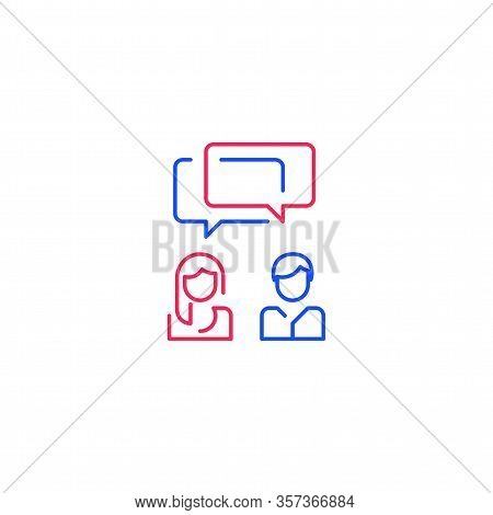 Two People Talking, Communication Concept, Man And Woman Speaking, Tutoring And Guidance, Dialogue O