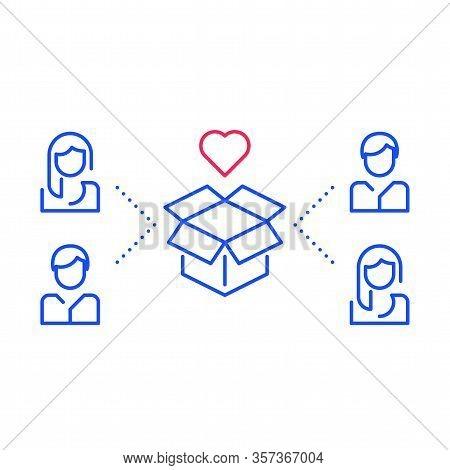 New Product Development, Team Work Concept, Better Service, Target Group, Vector Line Illustration