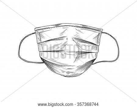 Surgical, Medical Face Mask That Protects Airborne Diseases, Viruses. Coronavirus. Defence From Air