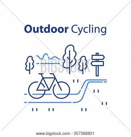 Outdoor Cycling Concept, Riding Bicycle Trip, Nature Tourism, Summer Tour, Vector Line Illustration