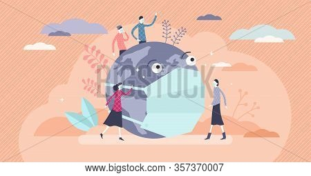 Global Health Threat Concept, Flat Tiny Persons Vector Illustration. World Pollution Issues And Vira