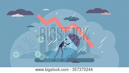 Recession Financial Storm Concept, Tiny Business Person Vector Illustration. World Economy Recession
