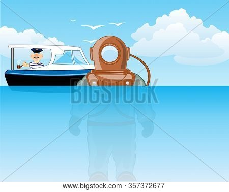 Vector Illustration Of The Cartoon Diver In Water